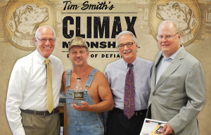 Blaise Tramazzo, Spirit Director, Hartley and Parker; Tim Smith, Owner/Founder and Master Distiller, Climax Moonshine; Paul Angelico, General Sales Manager, Hartley and Parker; and Peter Madden, Senior Vice President of Sales, Climax Moonshine.