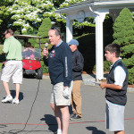 CT Beverage Mart's Steve Downes, President, CPSA Board of Directors, addressing the golfers before teeing off.