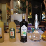 A selection of spirits during the tasting: Russo Limoncello, Russo Mandarino, Russo Nocino, Grappa Bianca and Grappa Riserva.