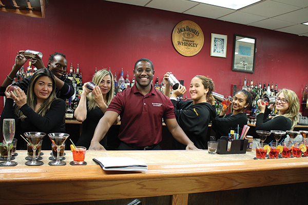 All current students in the Bartender's Academy unless noted: Veronica Nokuni; Derrick Edmondson; Jazmin Corraol; Peter