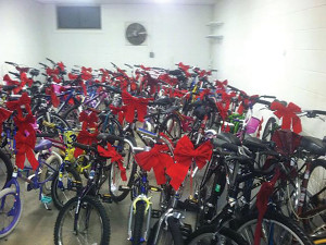 Refurbished bikes ready for holiday gifting.