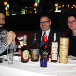 Dave Rudman, Director of Education and Account Development, Brescome Barton; Ed Dunn, Account Development Manager, Brescome Barton; Sarah Alokones, Northern Divisional Sales Manager, Brescome Barton, next to the featured whiskies.