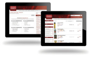 The iPad interface of Beverage Media online ordering site.