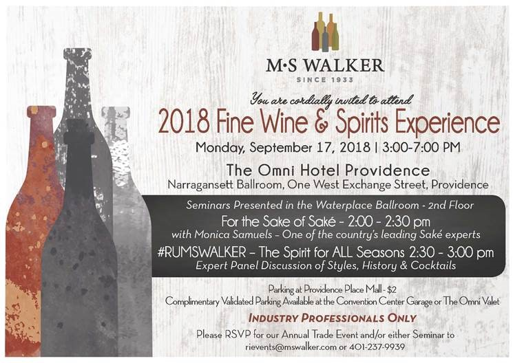 September 17, 2018: MS Walker Fine Wine & Spirits Show