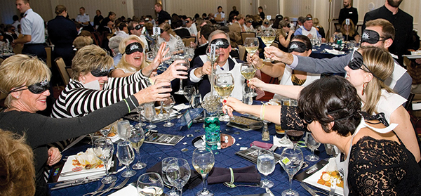 """""""Dinner in the Dark"""" included a four-course pairing of wine and food, where guests enjoyed a four-course food and wine pairing while blindfolded. """"This helped people connect with the organization's mission by experiencing what it is like to go through life without sight,"""" said Laura Manfre, Founder of Sofia Sees Hope."""