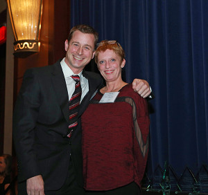Phil Barnett of the Hartford Restaurant Group, with Tracey McKenzie of Union League Café, which was honored with the Hospitality Hall of Fame Award.