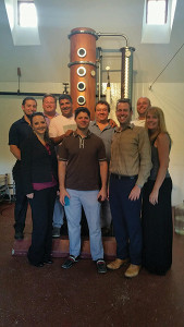 All from Latitude Beverage Co., except where indicated. Back row: Brian Riesbeck; Robert Lindblad, V.P. of Sales; Kevin Mehra, President; Louis Chatey, Owner, Westford Hill Distillers; Matt Prestiano, Sales Rep. Front row: Lauren McKenney, Sales Rep.; Michael Munk, Portfolio Manager, Regional Sales Manager; David McNulty, Sales Rep.; Kristine Maquire, Sales Rep.