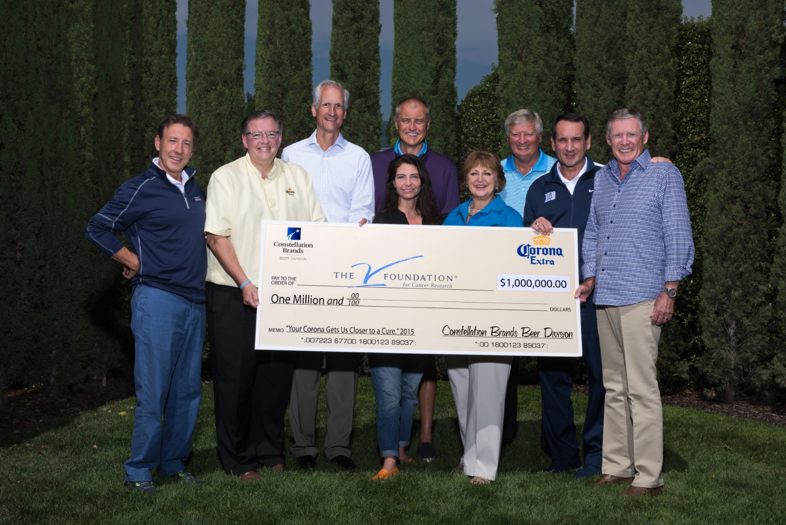 Constellation Brands' Senior Vice President of Corporate Affairs, Jim Ryan (attached photo, second from left), and Howard Young (third from left), President of General Wholesale Beer Company in Atlanta, Ga., presented a check in the amount of $1,000,000 to members of the board of directors from The V Foundation for Cancer Research. Featured in the photo are Chief Executive Officer of The V Foundation, Susan Braun (third from right), and Mike Krzyzewski (second from right), head coach of the Duke Blue Devils men's basketball team and close friend of the late Jim Valvano.
