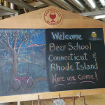 Beer School welcome sign for the launch team inside the brewery.