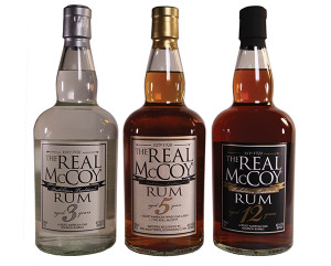 The lineup of 3-, 5- and 12-year aged rums from Real McCoy offered in their markets.