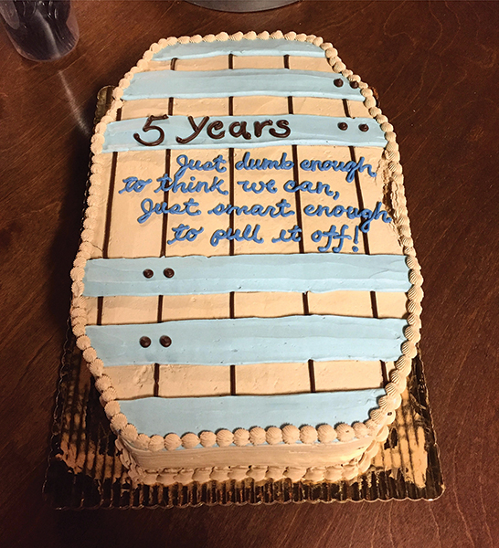Sons of Liberty Spirits Co. celebrated five years in business on December 30, 2016.
