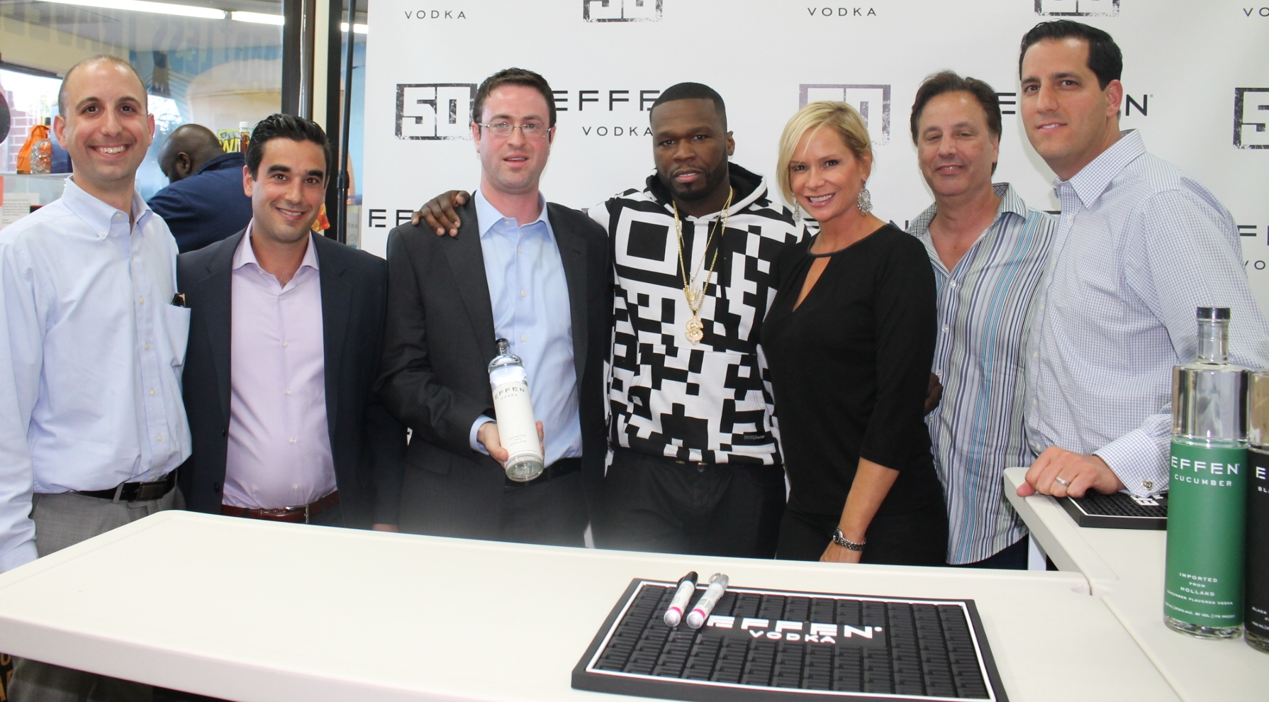 50 Cent Promotes Effen Vodka in Home State