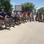 The C&C team enjoys a bike ride from the brewery into downtown. Matt Bronson, CT and RI Market Manager, New Belgium; Eric Queenan, Sales Rep., C&C; Christopher Correia, Sales Rep., C&C: Joe Sincerny, Field Marketing Manager, C&C; Keith Morris, On Premise Sales Manager, C&C; Anthony Micheletti, Sales Rep., C&C; Justin Kelley, Sales Rep., C&C; Craig Lancaster, Sales Rep., C&C; Scott Dulieu, Sales Supervisor, C&C; Many Cruz, Sales Rep., C&C; and Greg Holmes, CT/NY/RI Regional Manager, New Belgium.
