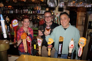 Shown left to right: Tina Rulewicz, Bar Manager at Old Dublin; Tony Karlowicz, Co-founder Back East Brewing; Tom LaRosa, General Sales Manager at G & G in Wallingford.