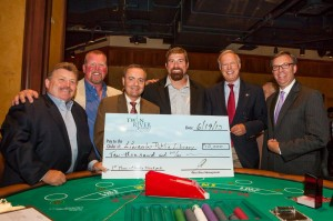 A charity game of Blackjack won the following amounts for each local charity, totaling $20,000 in donations. Left to right Glenn Ordway, Fred & Steve's Steakhouse donating $2,500 to Boys & Girls Club Cumberland-Lincoln;