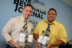 Tim Gurney, General Manager, Ace Distributing of Connecticut and Alpha Distributing of Rhode Island and Darchell Wilson, Sale Representative, Ace Distributing, with Dutchcraft Vodka.
