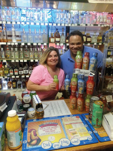 Darchell Wilson, sales representative with Ace Distributing, recently visited Tracy Bonoff, manager of Forest Package Store in West Haven, with Surf Side Shakers.