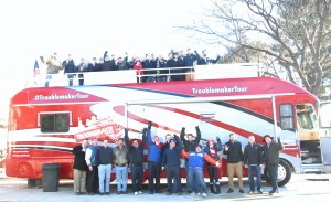 The Allan S Goodman team with The Troublemaker Red Bus Tour.