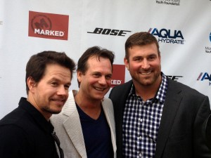 "Actors Mark Wahlberg and Bill Paxton with Matt Light. The KEEL sponsorship of the recent ""2 Guns"" movie premiere benefited the Mark Wahlberg Youth Foundation."