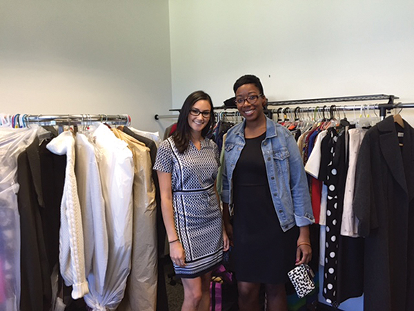 Danielle Mason, Human Resources Department, Brescome Barton with United Way of Greater New Haven's representative, Zoe Hunter.
