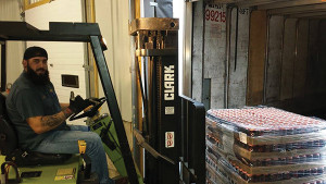 Dube and the first forklift. The beers available will include Stowaway IPA, Tarnation California-Style Lager, Pamola Xtra-Pale Ale, Summer Swelter, Hayride Autumn Ale and Phantom Punch Winter Stout.