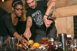 Shelby Thomas and Justin Morales of Infinity Music Hall and Bistro in Hartford, preparing their winning cocktail in the second round.