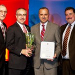 Bahjat Shariff accepts his National Restaurant Association Faces of Diversity Award. Left to right Incoming RIHA Chairman of the Board, Angelo DePeri; Chairman of the National Restaurant Association, Xavier Teixido; Operating Partner
