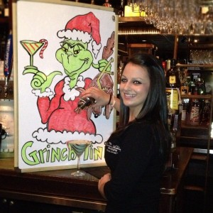 Kristen Behr and the Grinch-tini.