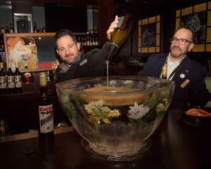 Paul Sevigny of DiSaranno next to Frank Martucci, Director of Beverage Operations, Twin River Casino. Photo By Chris Almeida.