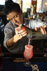 Bartender Jocelyn Laferriere with the Cranberry Rose.