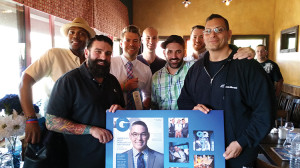 Khalid Williams; United States Bartenders Guild Connecticut Chapter Vice President Dimitirios Zahariadis (holding a poster of 2013 national winner Julio Cabrera of Miami, Florida); Brand Ambassador Gary Hayward; Patrick Muli, Carl Summa; Keith Arszyla; and Joe Aceto.