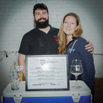 Stonington, CT's Beer'd Brewing's Aaron Simoncini, Owner and Brewer, and Precious Putnam, Owner and Operations Manager. Rhode Island Brew Fest 2016.