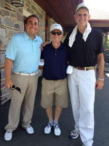 Left to right: Rich Varrato, head golf pro at Tumble Brook Country Club, Mel Simon and Scott Gerber.