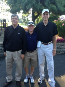 Shown left to right: Tom Yantz, golf writer for The Hartford Courant, Mel Simon, the Tumble Brook Country Club golf member for whom Gerber caddied and Scott Gerber, Senior Vice President, Martin Scott Wines and caddie for a day
