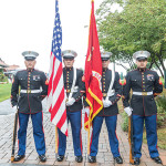 The Marine Corps Honor Guard presentation: Cpl. Thomas Hecht, Sgt. Kennedy Atuatasi, Sgt. Nicholas Rothstein and Sgt. Luis Colamba.