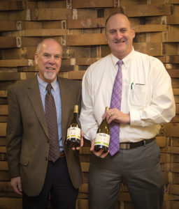 Steve Lancor, Business Manager, CDI and Brett Powell, Field Sales Manager Connecticut, Constellation Brands, Inc. with Notable chardonnays. The 2015 Notable California is bright golden in color and has aromas of fruit and apple with notes of baking spices, butter and toasted vanilla oak. The 2016 Notable Australian Chardonnay is pale straw in color and has aromas of peach and melon with floral flavors of lemon and citrus on the finish.