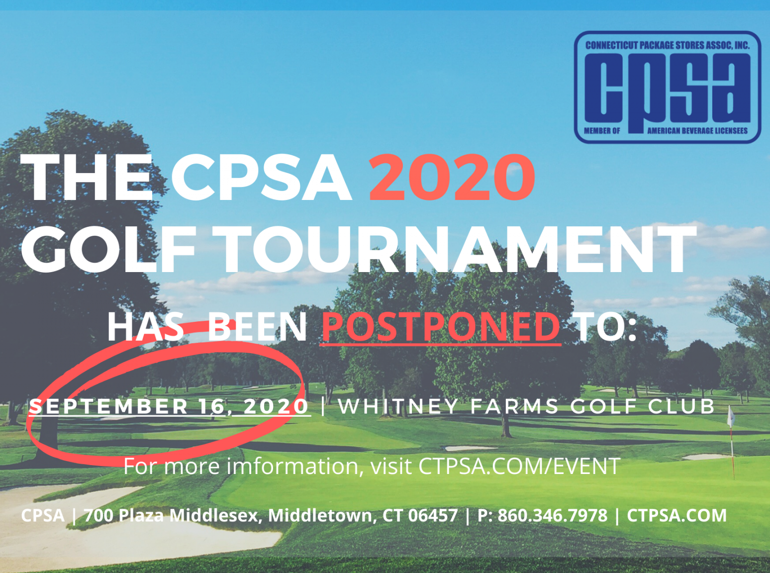 September 16, 2020: CPSA Annual Golf Tournament (NEW DATE)