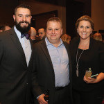 Dan Meiser, 2017 CRA Vice Chairman, Proprietor of Oyster Club and Engine Room and Restaurateur of the Year; Anthony Sullo of Joey Garlic's and 2017 CRA Chairman of the Board; and Sarah Maloney, Executive Director, CRA. Photo by Brian Ambrose.