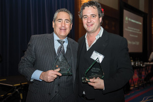 Shown is 2012 Restaurateur of the Year, Steven Abrams of Max Downtown with 2012 Chef of the Year, Ryan Jones of The Mill @2T.