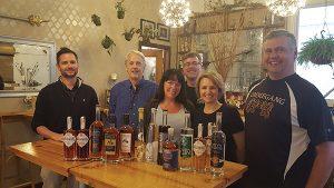 Pete Kowalczyk, Onyx Spirits; David Baker, Litchfield Distillery; Tom Dubay, Hartford Flavor Company; Rebecca Stanger, spirit passport winner; Lelaneia Dubay, Hartford Flavor Company; and John Taylor, Waypoint Spirits.