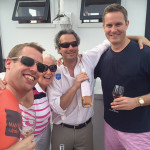 Dave McNulty, Latitude Beverage; Sharon Sweeney, Greenwich Staffing; Jeb Fiorita, Val's Putnam Wines and Liquor, Greenwich holding Lot 33 Rosé; John Cummings.