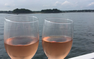 """Pretty in Pink"" wine classes overlooking Greenwich Harbor."