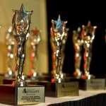 Custom-made star trophies line the award table at the 2012 RI Hospitality Association's Stars of the Industry event held at the Rhode Island Convention Center.