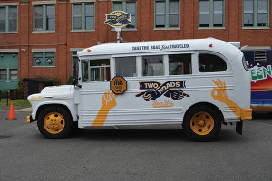 The Two Roads Brewing Co. bus on display.