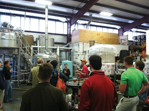 Brewmaster Derek Luke (in orange hat) with guests
