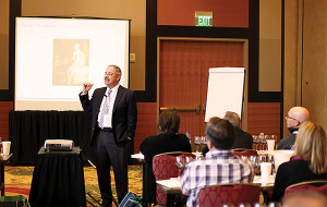 Ed Korry giving a seminar on quality assessment at the Society Wine Educators' (SWE) Annual Conference on August 13, 2014 in Seattle.