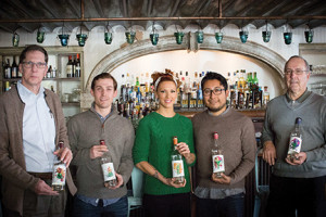 Nick Zeiser, President, Wine Wizards; Kaj Hackinen, Vice President, Back Bar Project, LLC; Mia Sarazen, Portfolio Ambassador, Back Bar Project, LLC; Asis Cortez, 6th Generation Cortez Family, El Jolgorio Mezcal, Oaxaca, Mexico; Bob Goulet, Representative, Wine Wizards. Photo by Chris Almeida.