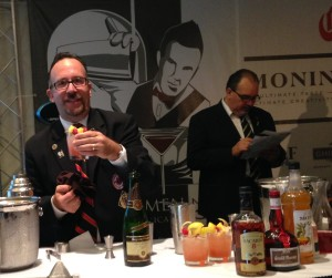 Frank Martucci (on left) at the 17th Annual IBA Pan American Cocktail Competition and Educational Show San Juan, Puerto Rico in 2013.