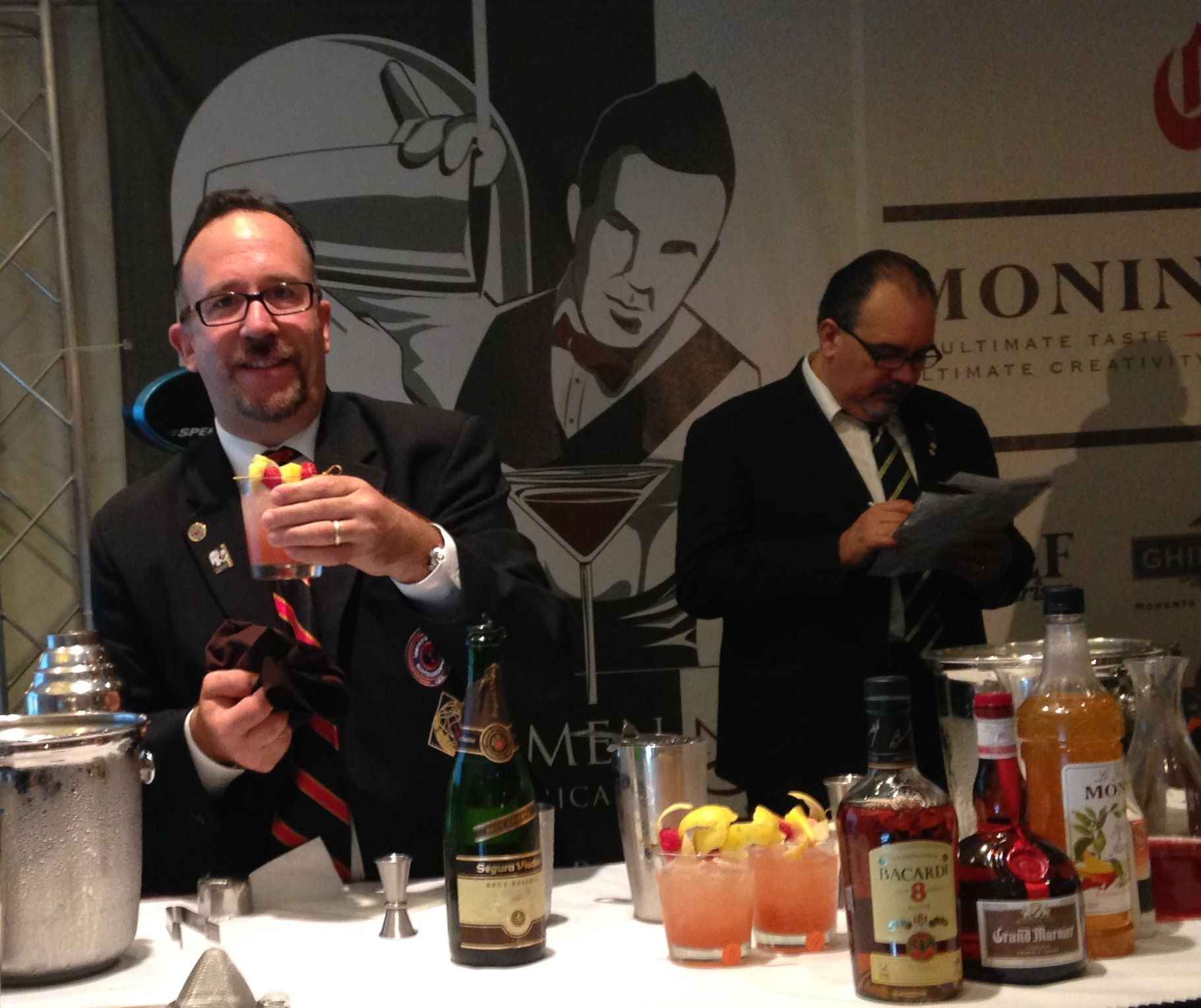 Frank Martucci (on left) at the 17th Annual IBA Pan American Cocktail Competition & Educational Show San Juan, Puerto Rico in 2013.
