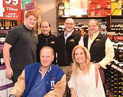 BevMax's Isaac Berkoff and Al Jimenez; BevMax Vice President Bill Berkoff; BevMax CEO Mike Berkoff with Frank and Kathie Lee Gifford.